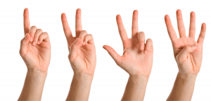 Hands counting 1, 2, 3, 4 to display rhythm